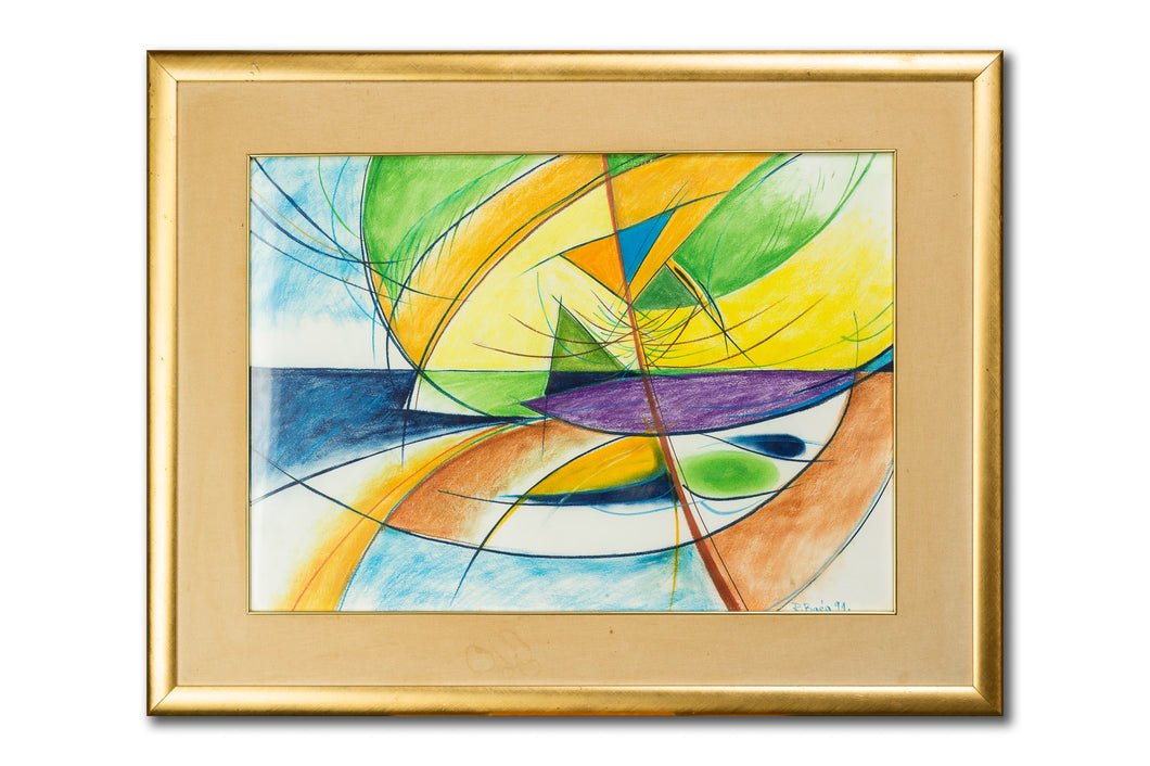 Abstract beach painting, pastel on paper, with frame, by Robert Baća.