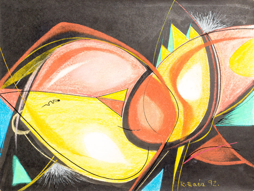 Abstract painting, pastel on paper, Robert Baća 1992