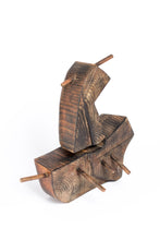 Abstract sculpture by Robert Baća, ship made of wood, early works.