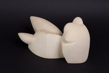 Abstract sculpture by Robert Baća, early work, white ceramics.