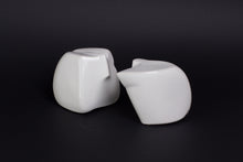 Abstract sculpture by Robert Baća, male and female, early work, white ceramics.