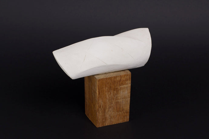 Abstract sculpture by Robert Baća, Islands series, early work, white ceramics.