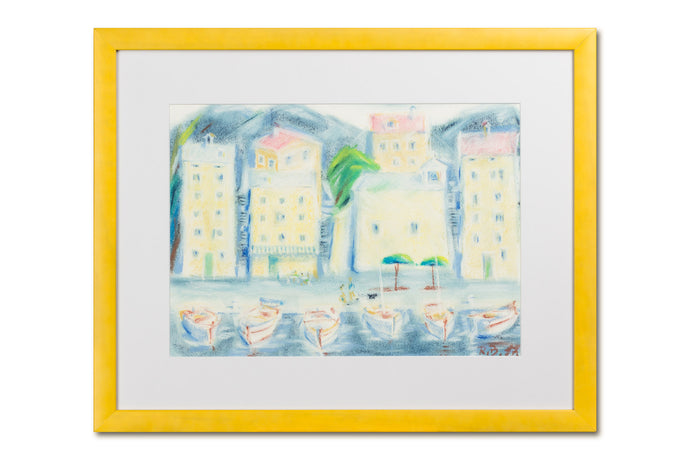 Abstract seaside painting, pastel on paper, with frame, by Robert Baća.