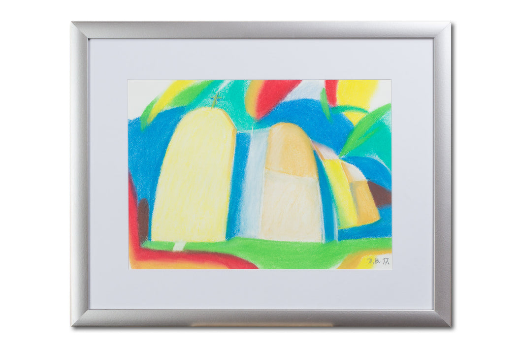 Abstract seaside chapel painting, pastel on paper, with frame, by Robert Baća.