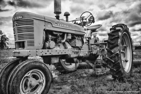 Black and White Tractor Art Prints