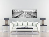 Black and White Snow Covered Road Art Print