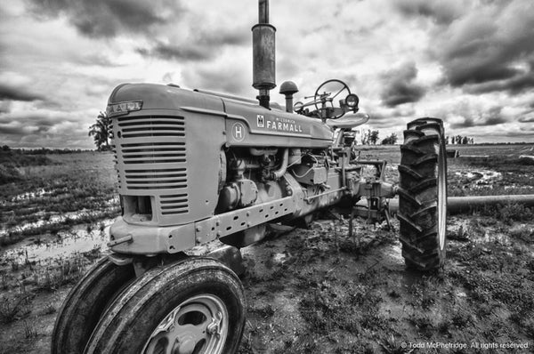 Black and White Tractor Artwork