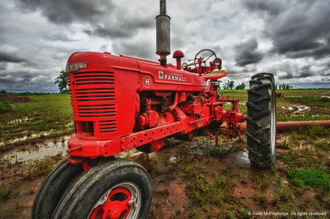 Red Tractor Wall Art Print for Sale