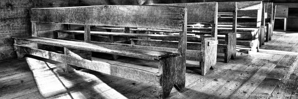 Black and White Church Pew Art Prints for Sale
