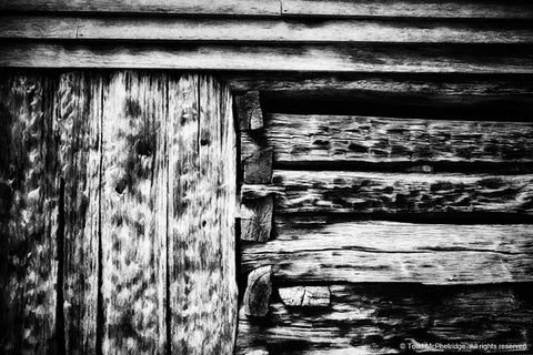 Black and White Log Cabin Artwork