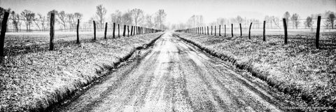 Black and White Snow Covered Road Art Prints