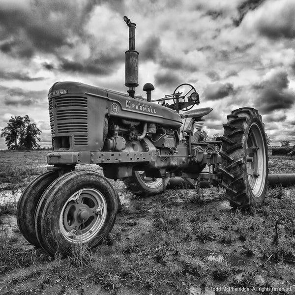 Black and White Farmall Tractor Wall Artwork
