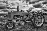 Black and White Antique Tractor Wall Artwork