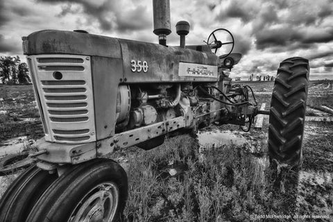 Black and White Tractor Wall Artwork