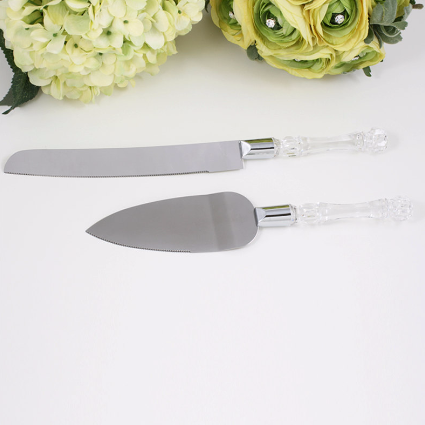 Silver Crystal handle Serving Set - Annie's showroom