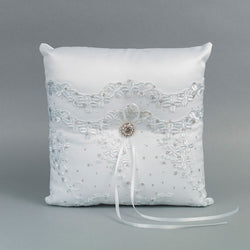 Wavy Double Floral Lace Ring Pillow - Annie's showroom
