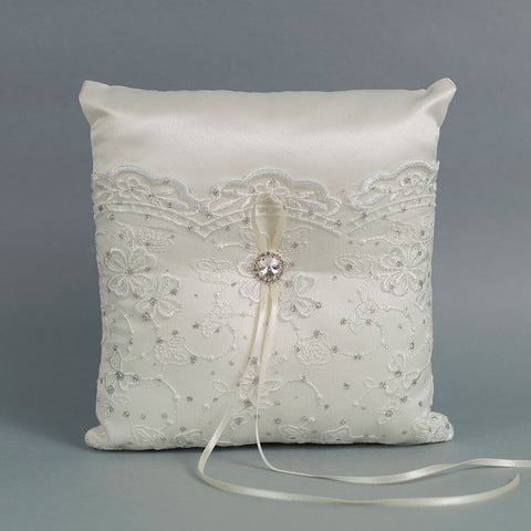 Ivory Wavy Floral Lace Ring Pillow - Annie's showroom