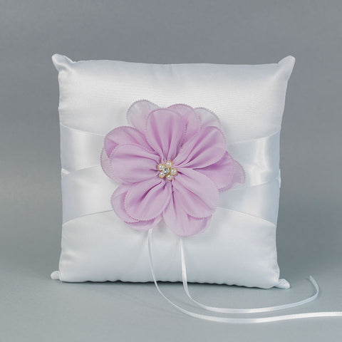 White Ring Pillow with a Lavender Flower - Annie's showroom
