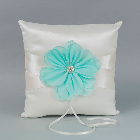 Ivory Ring Pillow with an Aqua Flower - Annie's showroom