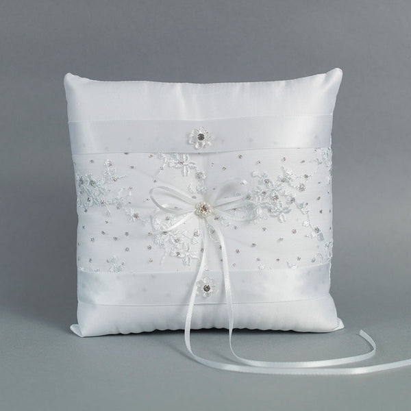 Floral Lace Ring Pillow with flower accents - Annie's showroom