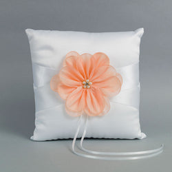 White Ring Pillow with a Peach Flower - Annie's showroom