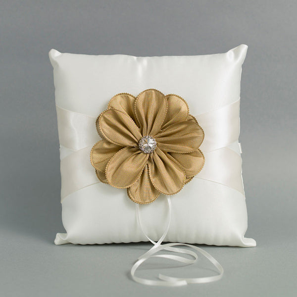 Ivory Ring Pillow with a Gold Flower - Annie's showroom
