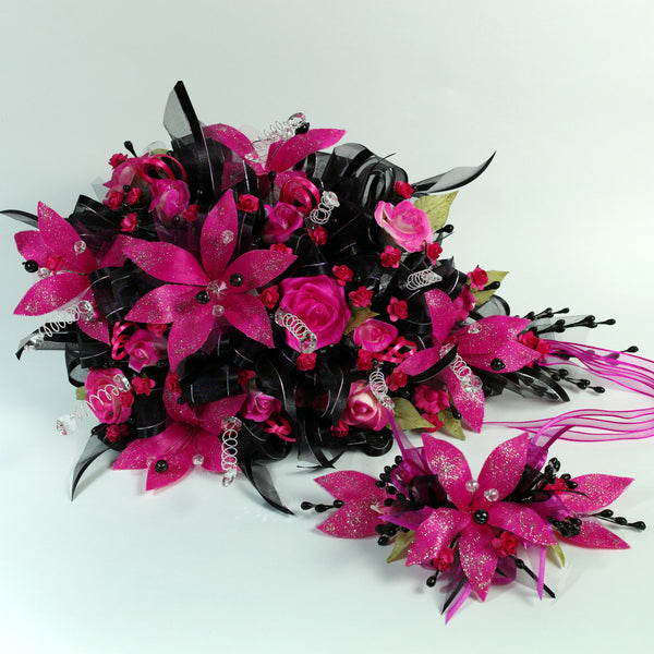 Handmade Bridal Wedding Bouquet and Headpiece: Black Fuschia - Annie's showroom
