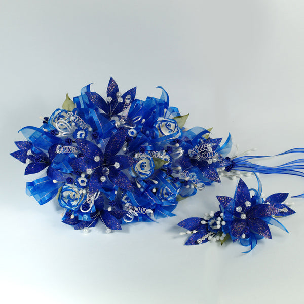 Handmade Bridal Wedding Bouquet and Headpiece: Blue - Annie's showroom