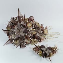 Handmade Bridal Wedding Bouquet and Headpiece: Brown - Annie's showroom