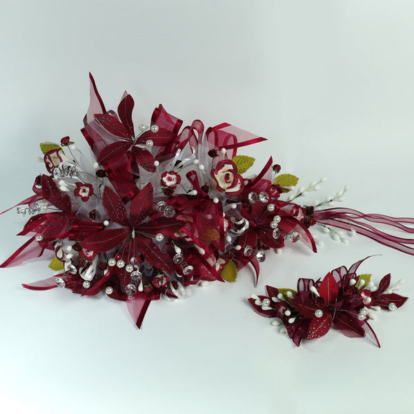 Handmade Bridal Wedding Bouquet and Headpiece: Burgandy - Annie's showroom