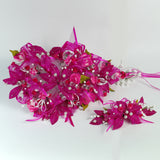 Handmade Bridal Wedding Bouquet and Headpiece: Fuschia - Annie's showroom