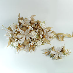 Handmade Bridal Wedding Bouquet and Headpiece: Gold - Annie's showroom