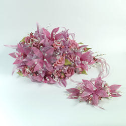 Handmade Bridal Wedding Bouquet and Headpiece: Pink - Annie's showroom