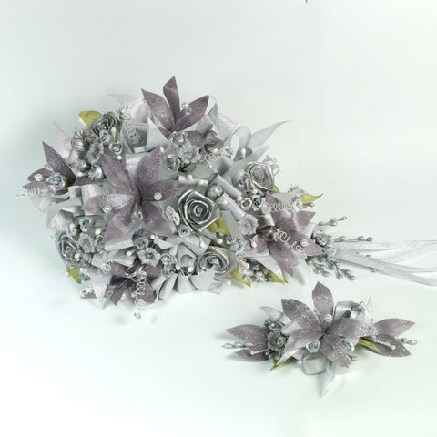 Handmade Bridal Wedding Bouquet and Headpiece: Silver - Annie's showroom