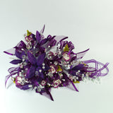 Handmade Bridal Wedding Bouquet and Headpiece: Dark Purple - Annie's showroom