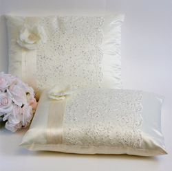 A set of Wedding Kneeling Pillow : Floral Embroidery with Flower - Annie's showroom