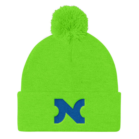 KNIT HAT BLUE N w POM-POM