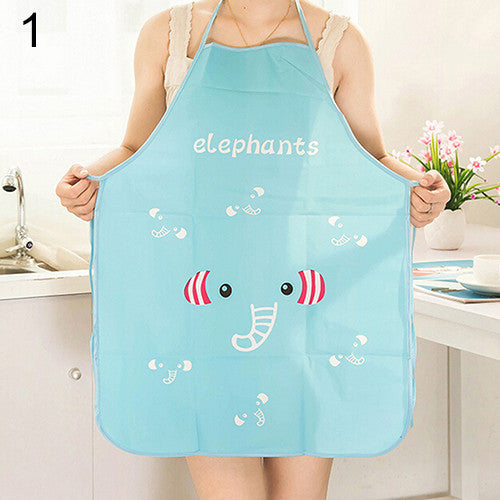 Women Cute Cartoon Waterproof Kitchen Apron