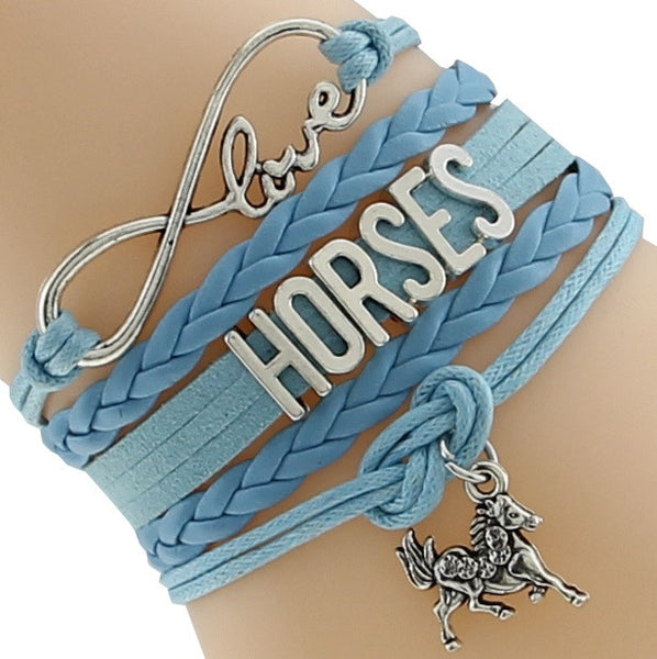Infinity Love Customised Text Bracelets for horse lovers