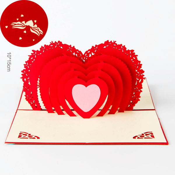 Hearts pop up card for Valentine's day