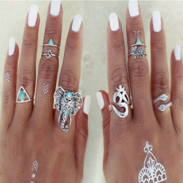 8 pcs/Set Vintage Beach Elephant Ring Set