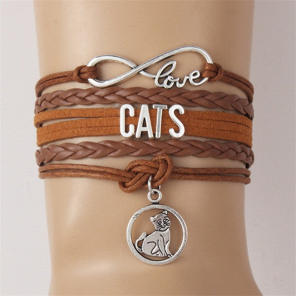 Infinity Love Customised Text Bracelets for cat lovers