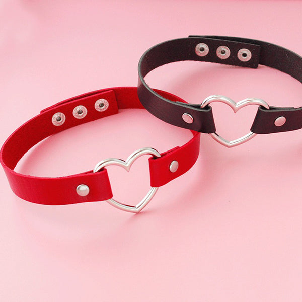 Leather Heart Choker Necklace