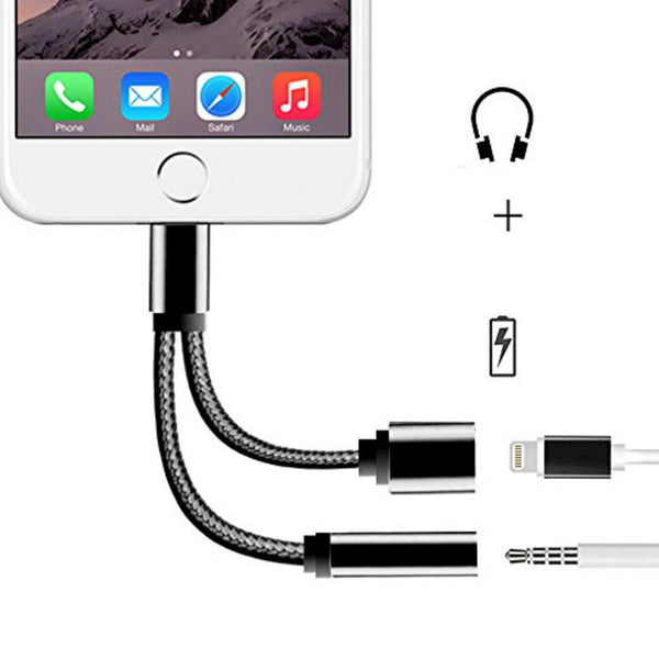 2 In 1 for Lightning to 3.5mm Earphone Audio Jack and Charger Adapter for iPhone 7