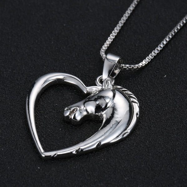 Horse in Heart Necklace for women
