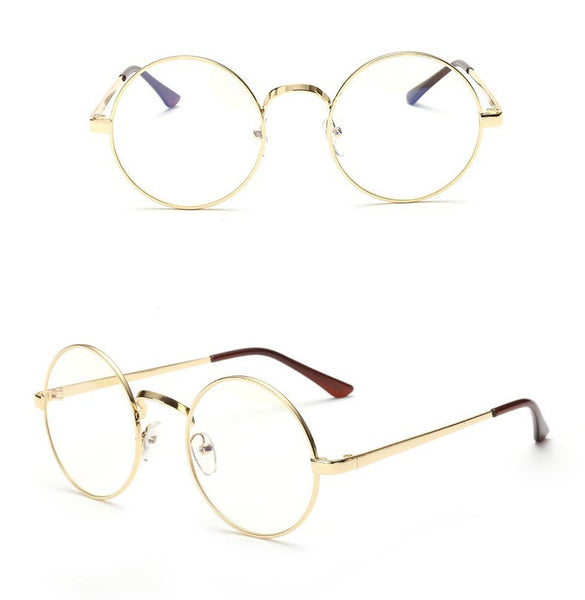 Gold Round glasses with clear lens