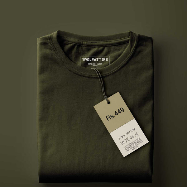 Army Green Round Neck T-shirt style guide