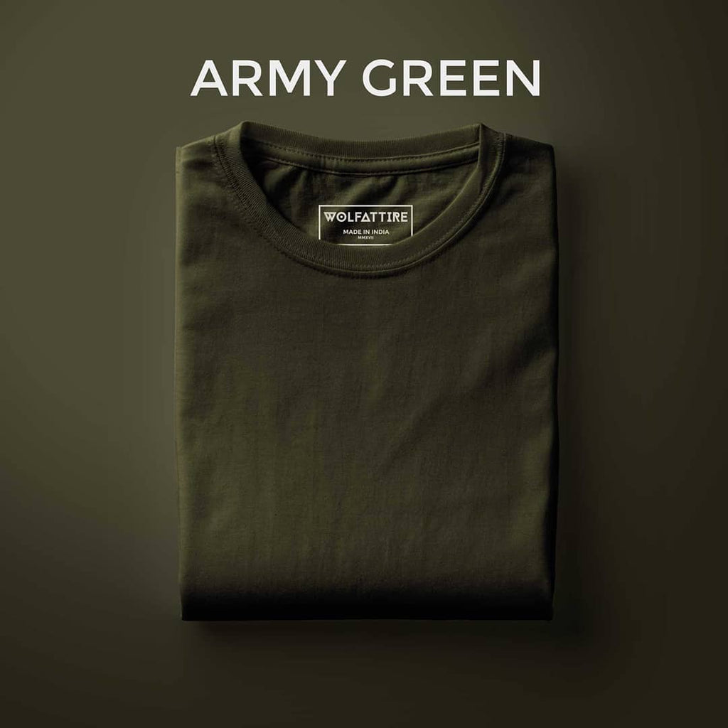 Army Green Crew Neck T shirt for Men | Wolfattire