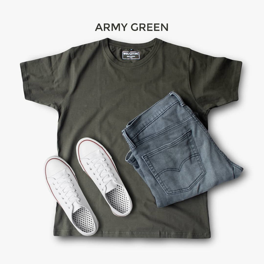 Army Green Crew Neck T-shirt for Men | Wolfattire