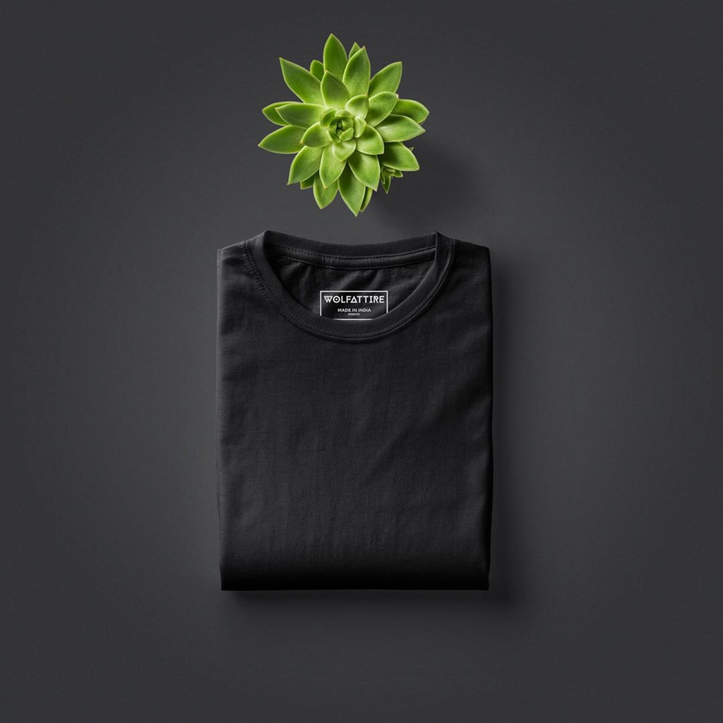 Black Crew Neck T shirt for Men | Wolfattire
